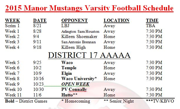 2015 Manor Mustangs Varsity Football Schedule